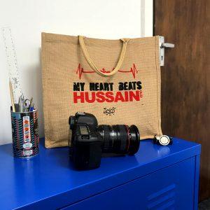 Bespoke 'I LOVE HUSSAIN' & 'MY HEART BEATS HUSSAIN' Jute Bag